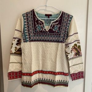 KENZO CREAM RED BLUE PATTERNED SWEATER M